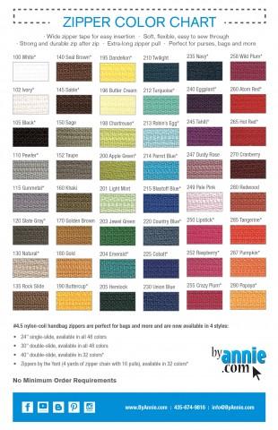Zipper Color Chart