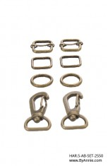 "1/2"" antique brass - Hardware Set 2550"