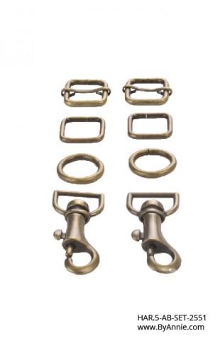 """1/2"""" antique brass - Hardware Set 2551"""