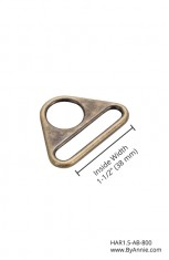 1-1/2 inch - Antique Brass - Triangle ring, flat