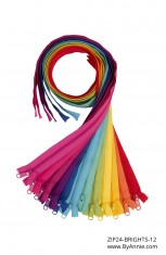 """Set of 24"""" Zippers - Brights (OUT OF STOCK)"""