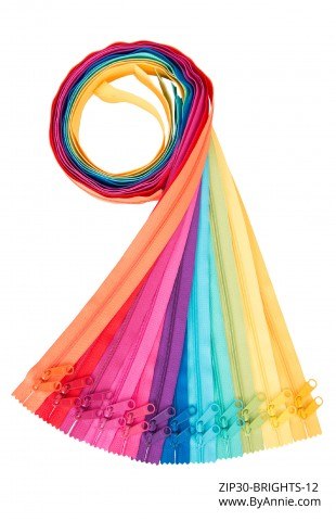 "Set of 30"" Zippers - Brights (OUT OF STOCK)"