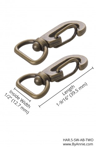 """1/2"""" Antique Brass - Swivel Hook, Set of Two"""