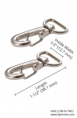 "1/2"" Nickel - Swivel Hook, Set of Two"