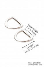 "1"" Nickel - D-Ring, Flat, Set of Two"