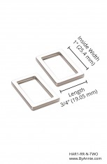 "1"" Nickel - Rectangle Ring, Flat, Set of Two"