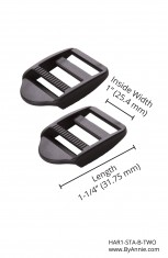 "1"" black plastic - Strap Adjuster, Set of Two"