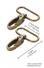 "1-1/2"" Antique Brass - Swivel Snap Hook, Set of Two"