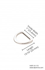 "1"" nickel - D-ring, flat"