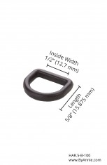 "1/2"" black plastic - D-ring"