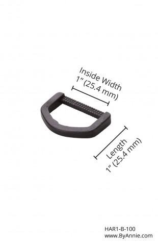 1in black plastic - D-ring