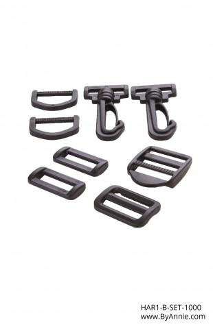"1"" black plastic - Hardware Set 1000"