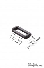 1in black plastic - Rectangle Ring