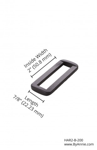 "2"" black plastic - Rectangle ring"