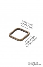 "1/2"" antique brass - Rectangle Ring"