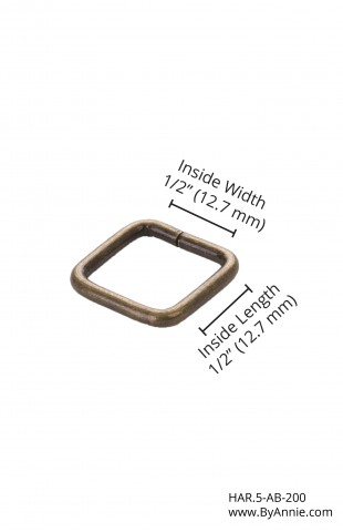 """1/2"""" antique brass - Rectangle Ring"""