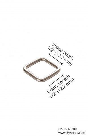 "1/2"" nickel - Rectangle Ring"