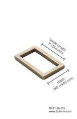 "1"" antique brass - Rectangle ring, flat"