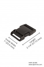 "1"" black plastic - Side Release Buckle"