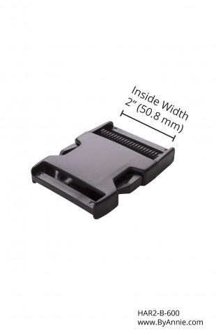 2in black plastic - Side release buckle