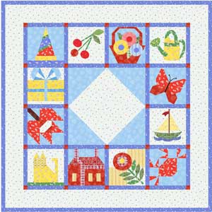 Block of Month quilt made with Martha's Vineyard fabrics