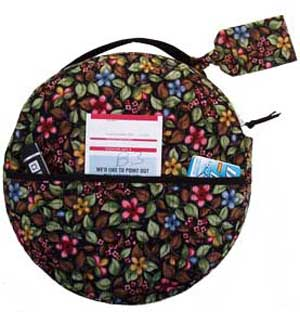 Handy zippered case has space for pillow, book or magazine, water bottle and more.